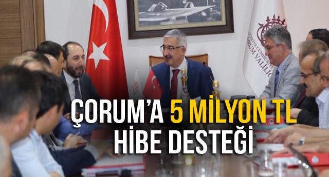 ÇORUM'A 5 MİLYON TL HİBE DESTEĞİ
