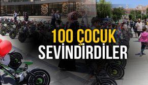100 ÇOCUĞA BİSİKLET VERİLDİ