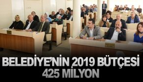 BELEDİYE'NİN 2019 BÜTÇESİ 425 MİLYON